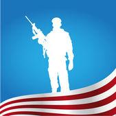 American soldier — Stock Vector