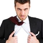 Businessman tearing his shirt — Stock Photo #6960723