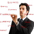 Businessman writing on the screen — Stock Photo