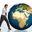 Businessman and the world - Stock Photo