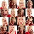 Collage of facial expressions - Stock Photo