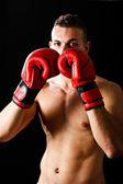 Boxeador em posição de guarda — Fotografia Stock