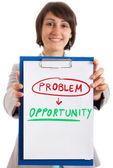 Businesswoman showing a positive concept — Stock Photo