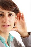 Listening woman — Stock Photo