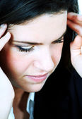 Young woman having headache — Stock Photo