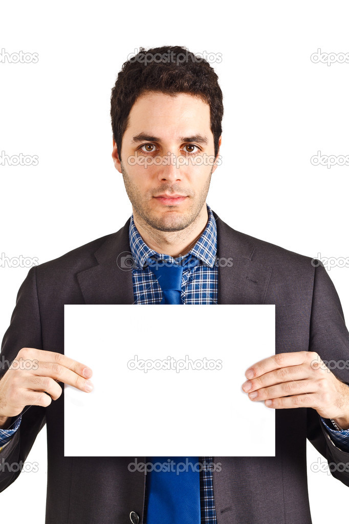 Young businessman holding a blank sheet of paper — Stock Photo #6961284