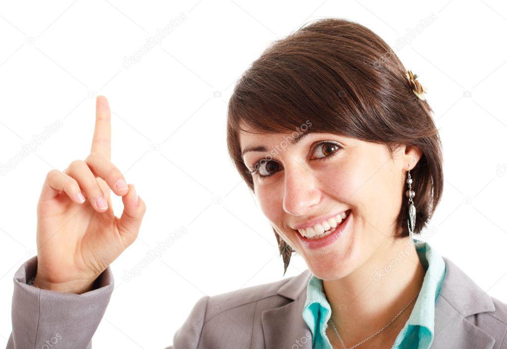 她的手指指向上方的女人