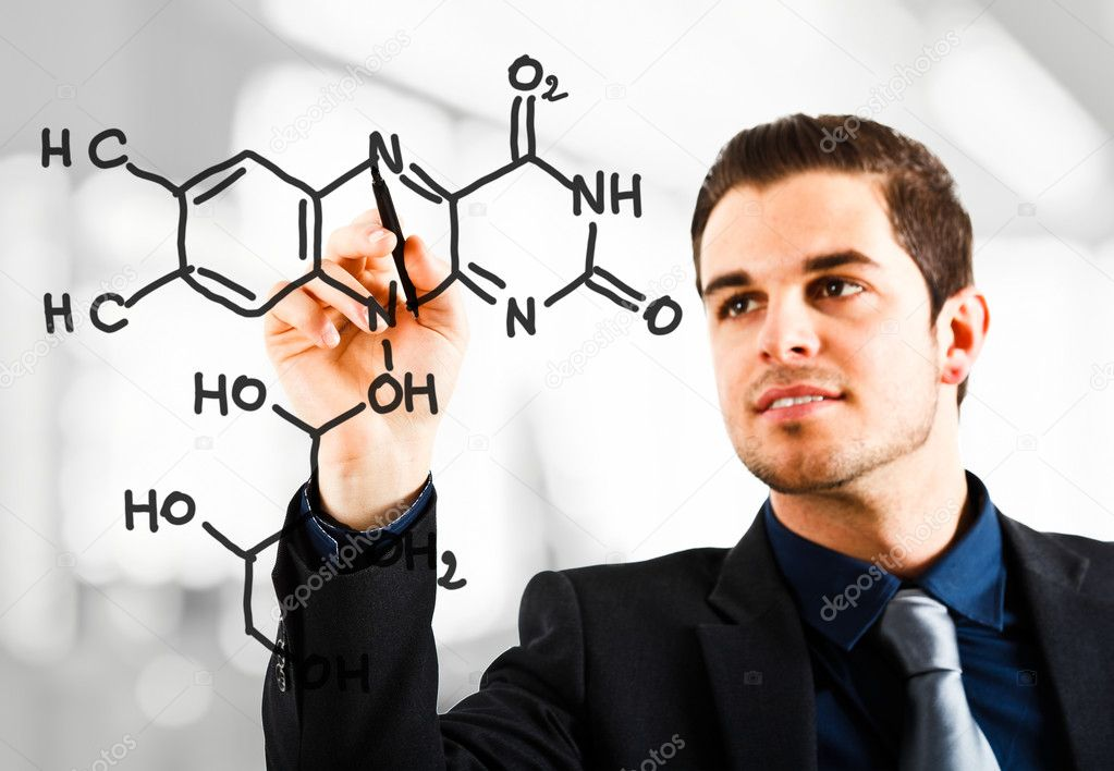 Scientist drawing a chemical formula on the screen — Stock Photo #6961720