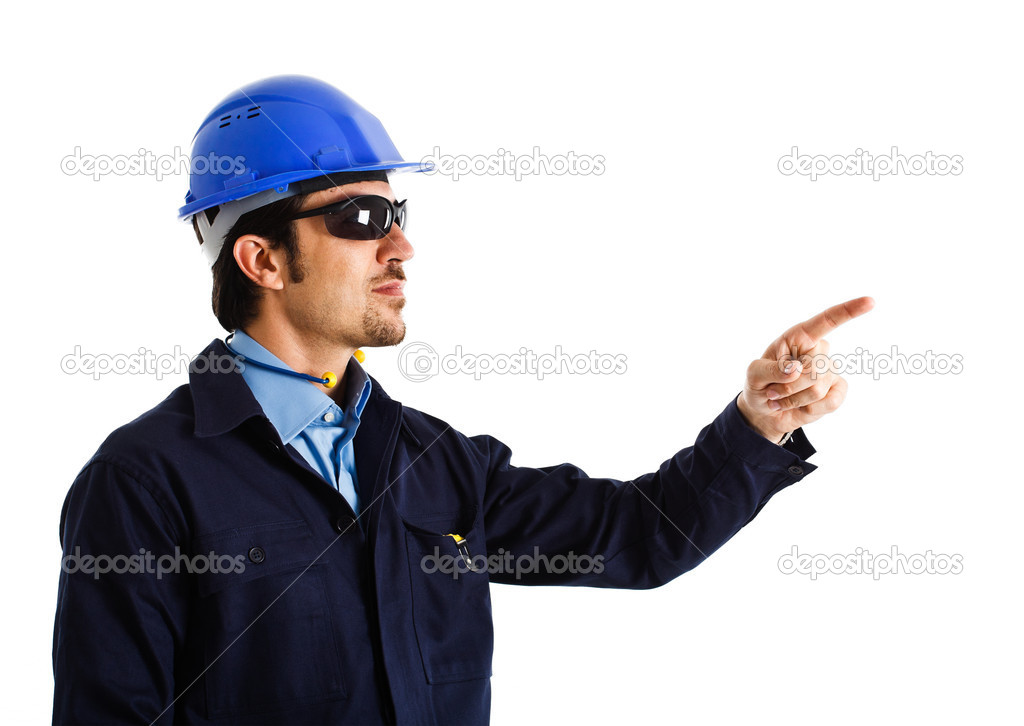 Portrait of an engineer pointing at something  — Stock Photo #6963220