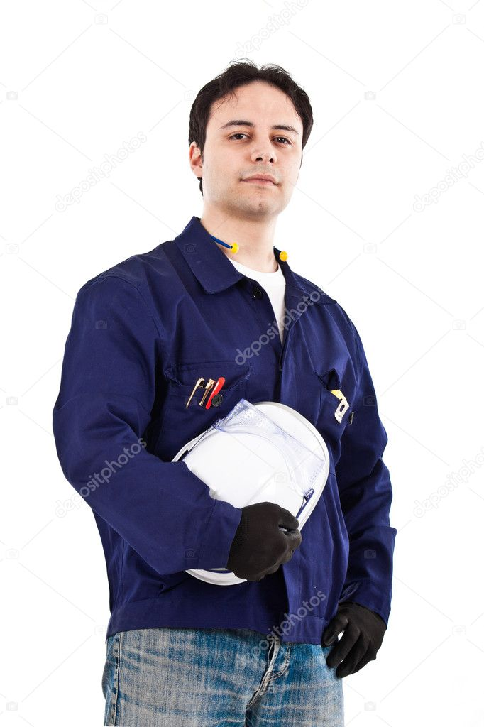 Portrait of a worker, isolated  on white — Stock Photo #6969847