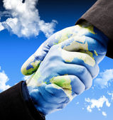 Earth handshake — Stock Photo