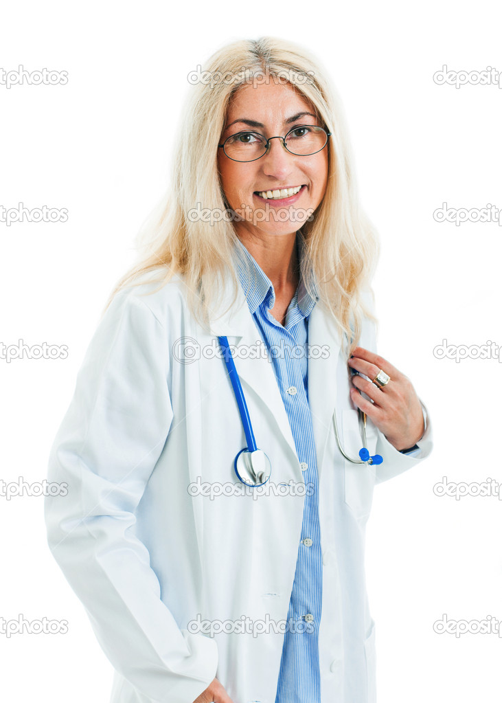Portrait of a friendly doctor smiling  Stock Photo #6970298