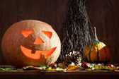 Maple leafs, pumpkins and witches'-broom — Stock Photo