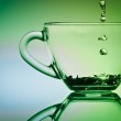 Drop of water falling down to cup of tea — Stock Photo