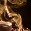 Smell of good cofee from cup — Foto de stock #7420542