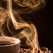 Foto Stock: Smell of good cofee from cup