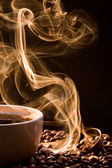 Smell of good cofee from a cup — Stock Photo