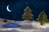 Małe drzewa zrobić z piernika z księżyca i gwiazd — Zdjęcie stockowe