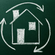 Stock Photo: Concept of Home recycling on green blackboard