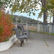 Park bench in fall at the overlook — Stock Photo