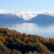 Glacier view across the bay in fall — Stock Photo