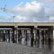 Low flying sea plane over the commercial shipping dock — Stock Photo