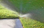 Lawn sprinkler with sidewalk — Stock Photo