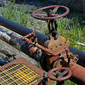 Fuel oil pipe with valve — Foto de Stock