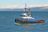 Blue tugboat in the bay — Stock Photo