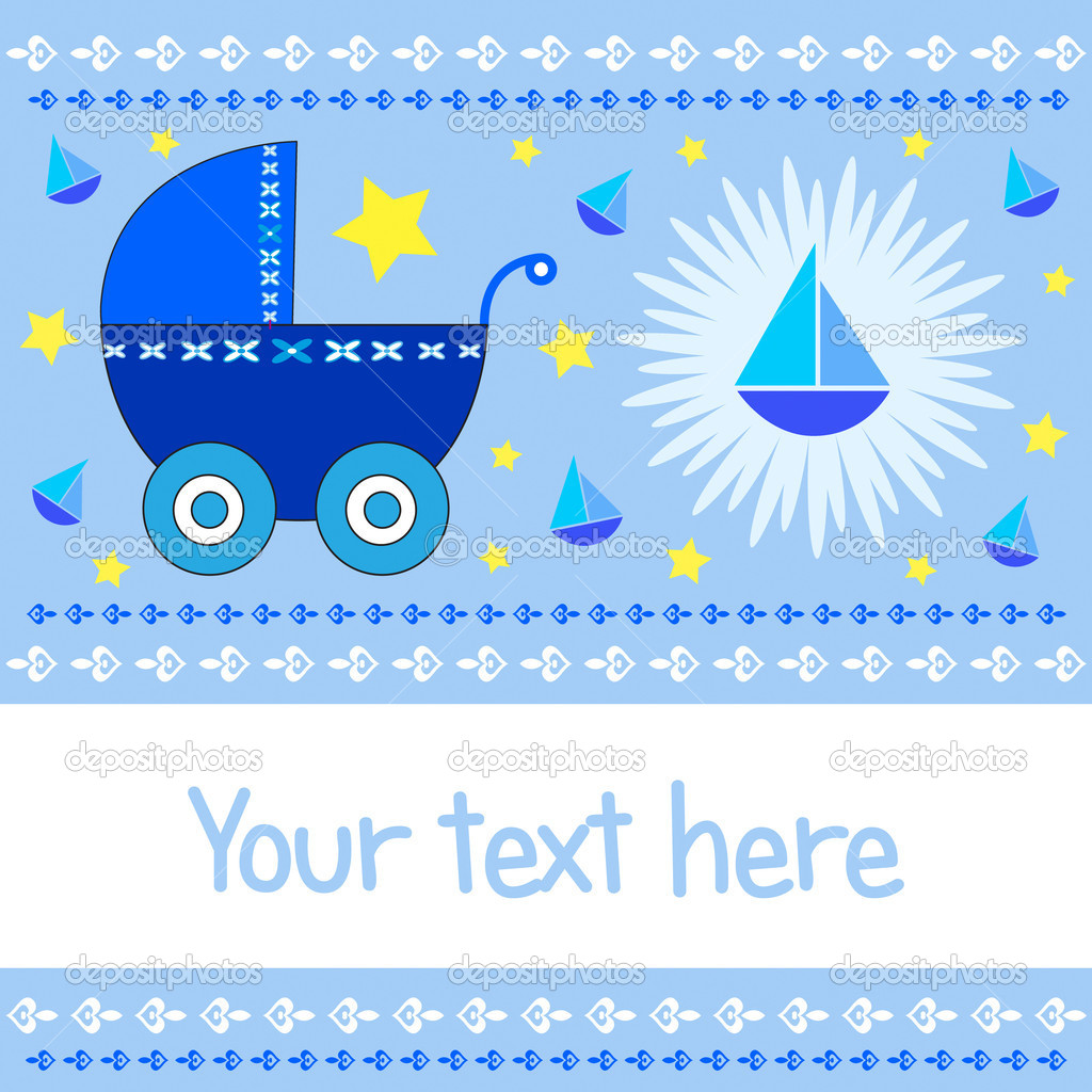 Baby boy arrival greeting card with blue stroller, sailboats and stars ...