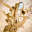 Antique Brass Sextant - Navigation and Discovery Instrument — Stock Photo