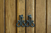 Wooden door and fittings — Stock Photo