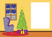 Christmas living room cartoon — Stock fotografie