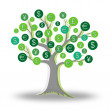Money green tree growing currency — 图库照片