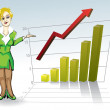 Royalty-Free Stock Vector Image: Woman with business graph