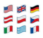 Nine flags — Stock Vector
