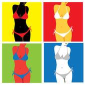 Bikini in popart style — Stock Vector