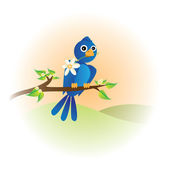 Bird with flower — Vector de stock