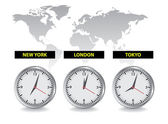 World time clocks — Stock Vector