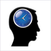 Clocks in head — Stock Vector