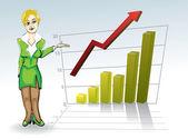 Mujer con gráfico de negocios — Vector de stock