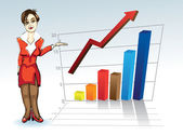 Young woman with business graph — Stock Vector