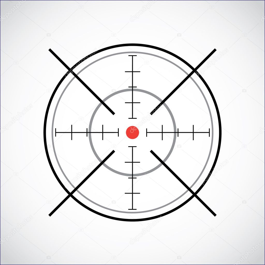 Crosshair with red dot - illustration — Stock Vector #6822013