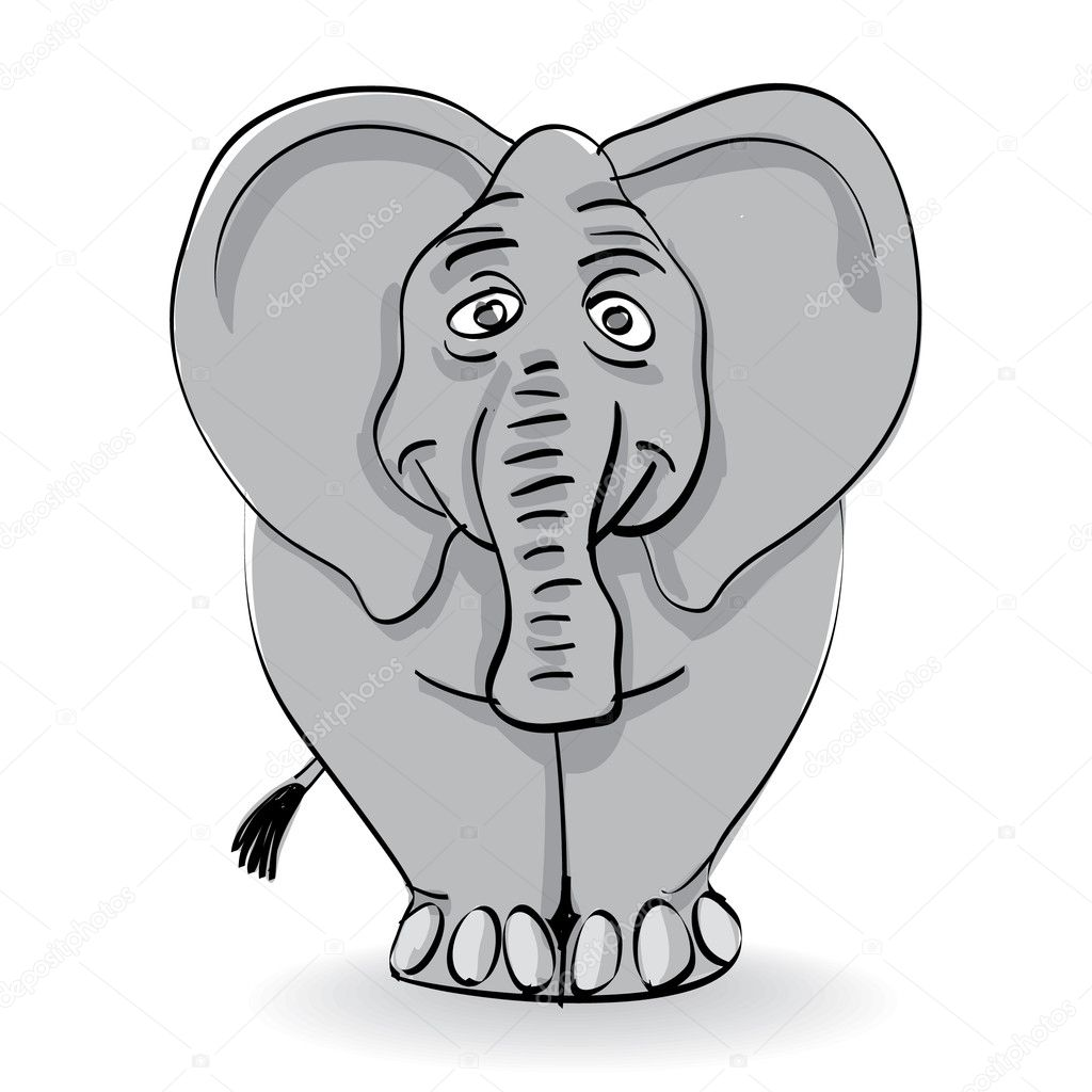Funny grey elephant isolated - illustration — Stock Vector #6822138