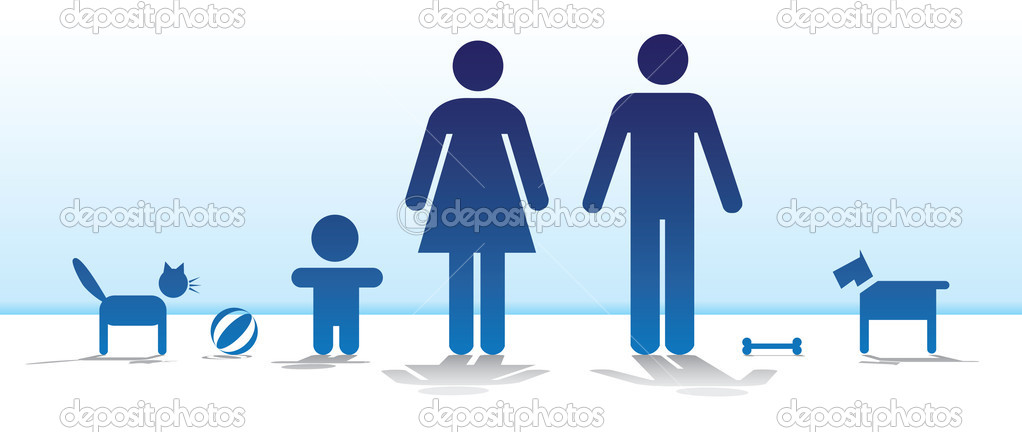 Basic family with dog and cat - illustration — Imagen vectorial #6822217