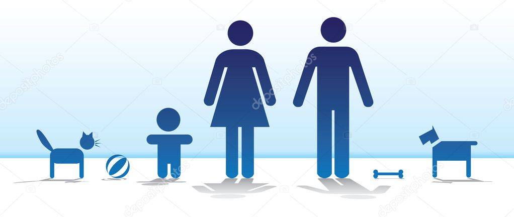 Basic family with dog and cat - illustration — Векторная иллюстрация #6822217