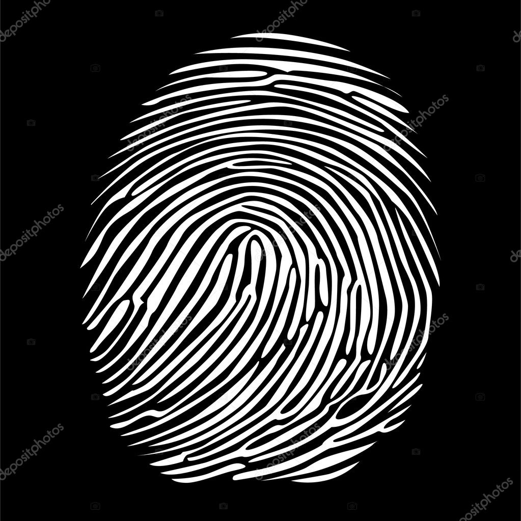 Fingerprint in negative detailed illustration  Stock Vector #6822283