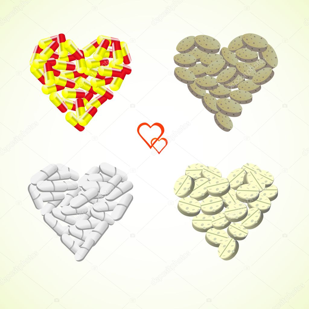 Hearts from pills and drops illustration — Stock Vector #6822388