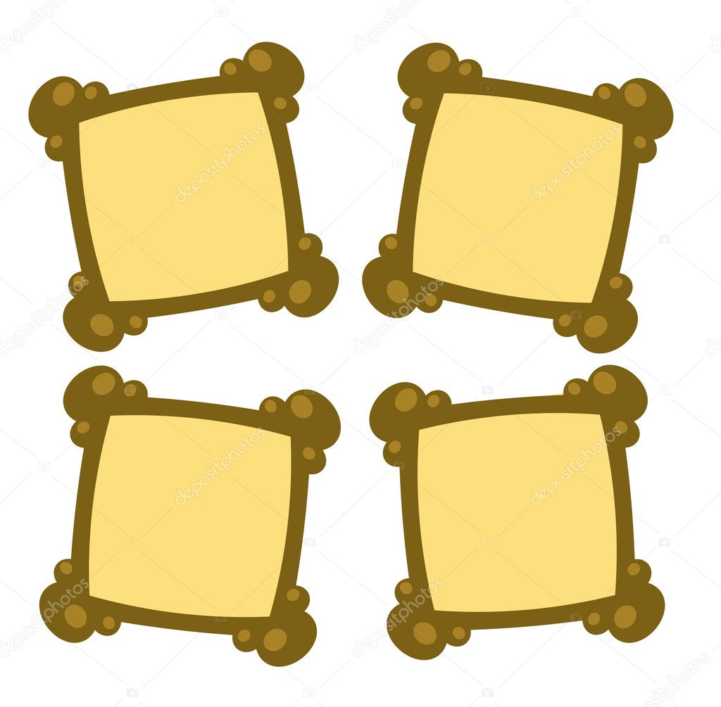 Four empty photo frames - illustration — Imagen vectorial #6822390