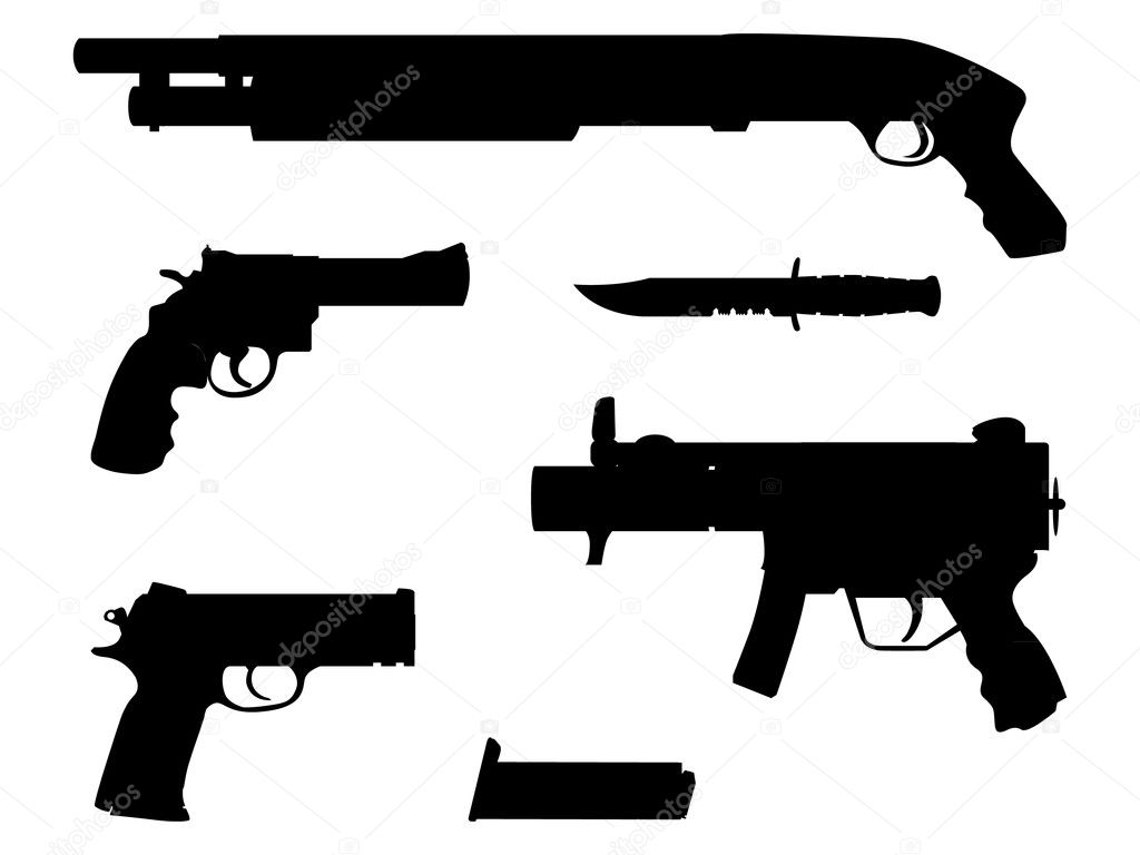 Silhouette guns equipment - isolated illustration  Stock Vector #6822470
